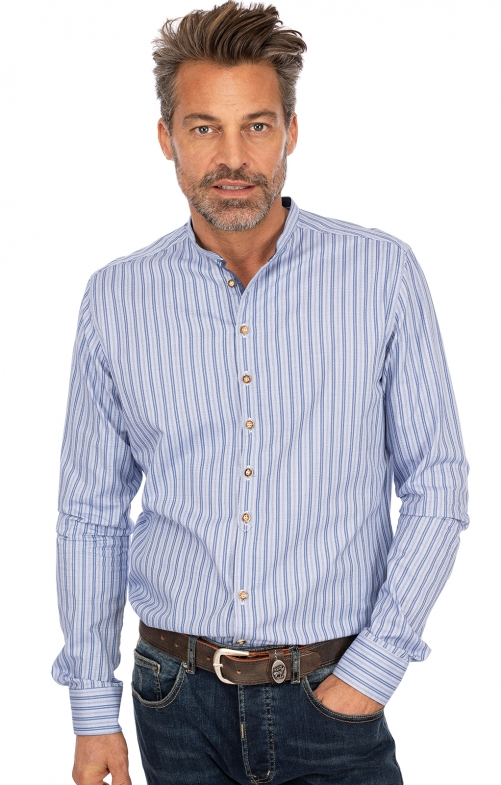 Stehkragenhemd BRAIN blau