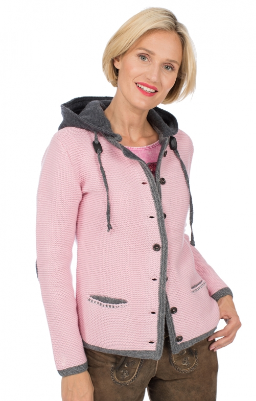 Traditional Cardigan HALLSTATT Hoodie pink gray