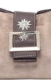 verspielte Trachtentasche Leder, grau