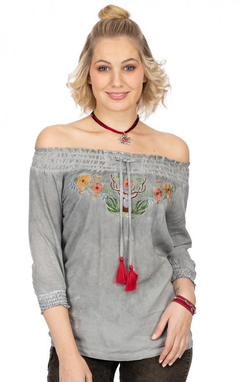 T-Shirt P26 - FLOWER HIRSCH hellgrau