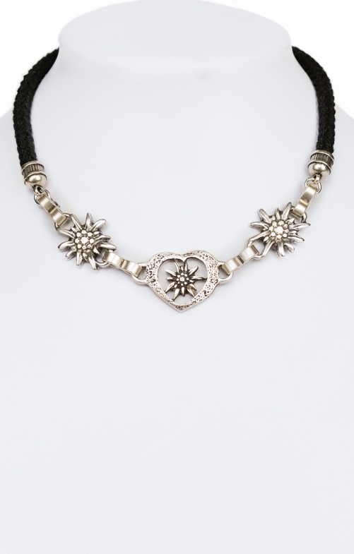 Traditional necklace with heart Edelweiss K7002 black