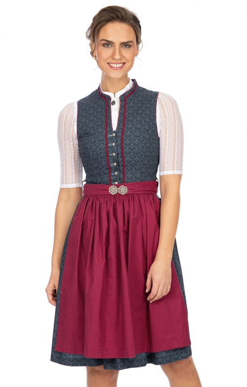 Mini Dirndl 2tlg. 58 cm HELIANE blau bordeaux