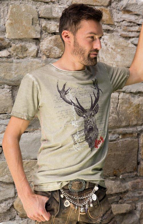 Trachten T-Shirt M04 JAGDLIED Hirsch beige