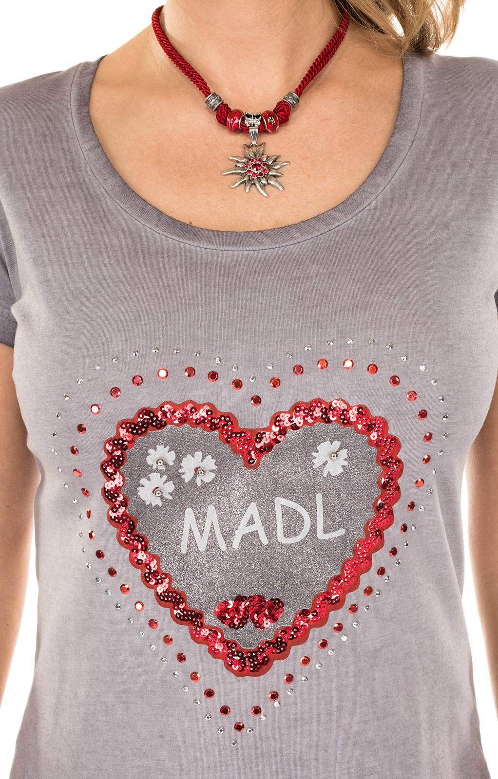 weitere Bilder von Trachten T-Shirt VIANA grau Herzmotiv