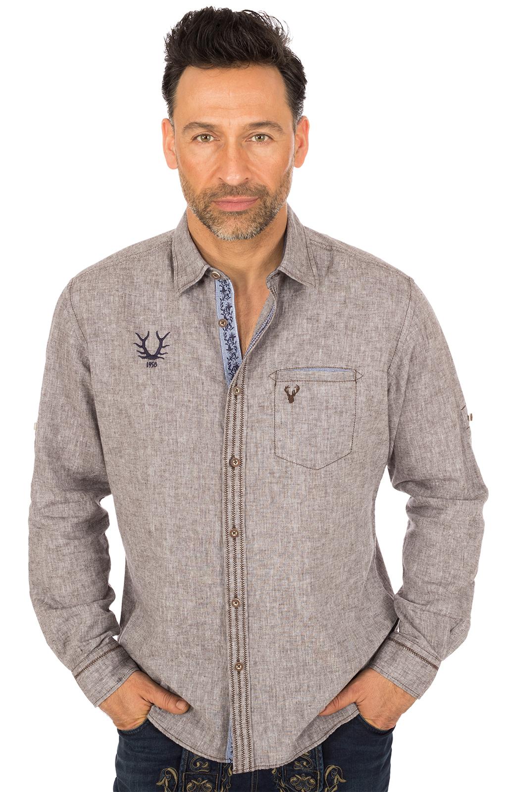 Trachtenhemd LUIS Baumwolle braun von Krüger Dirndl
