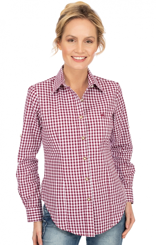 Bluse Langarm CHECKERED bordeaux