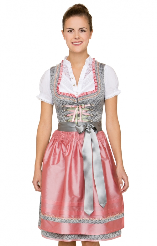 German Midi dirndl 2pcs. Nane black pink 60 cm