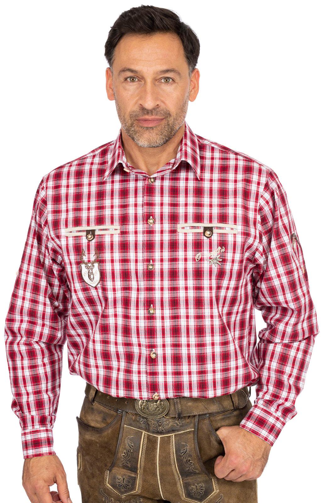 Karo Langarmhemd ÜBERSEE rot von OS-Trachten