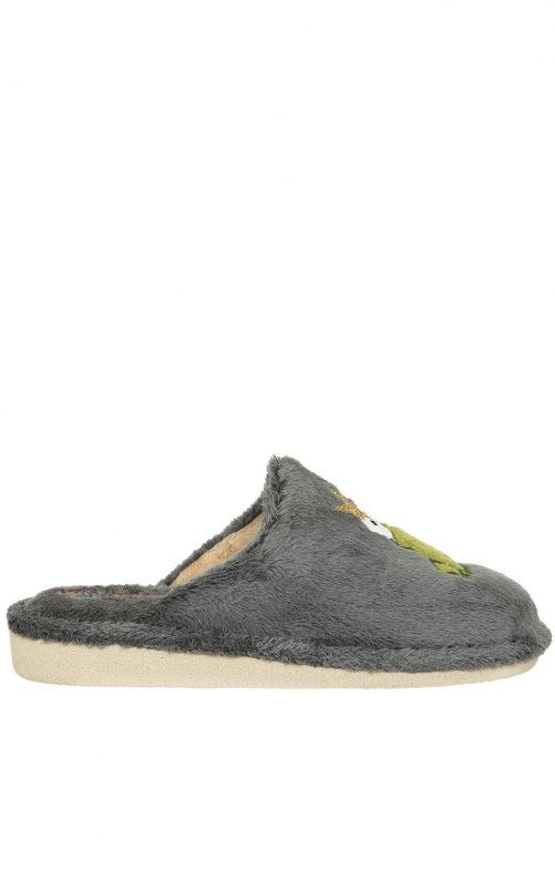 Traditional Slipper KISS ME dark gray
