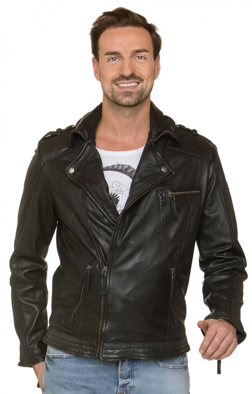 German traditional leather jacket BRONSON black