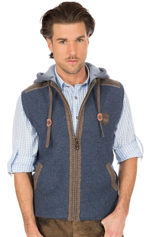 Traditional waistcoat knitted blue