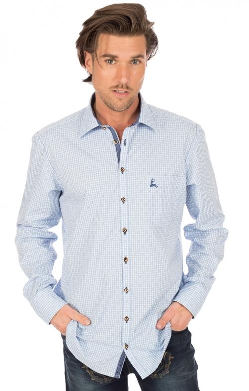 Trachtenhemd SIMERING Langarm hellblau Karo