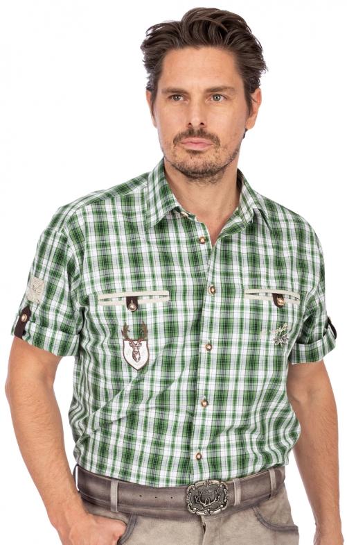Trachtenhemd EDDI karo mix Halbarm grün
