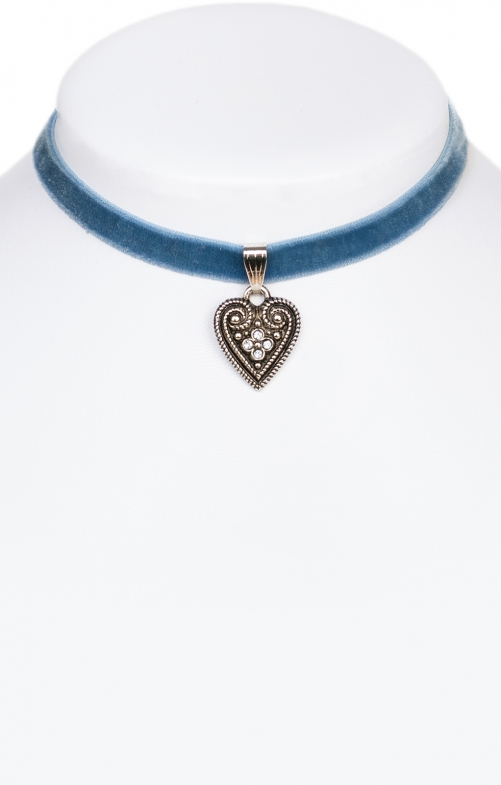 Traditional necklace with heart 9197-SB blue