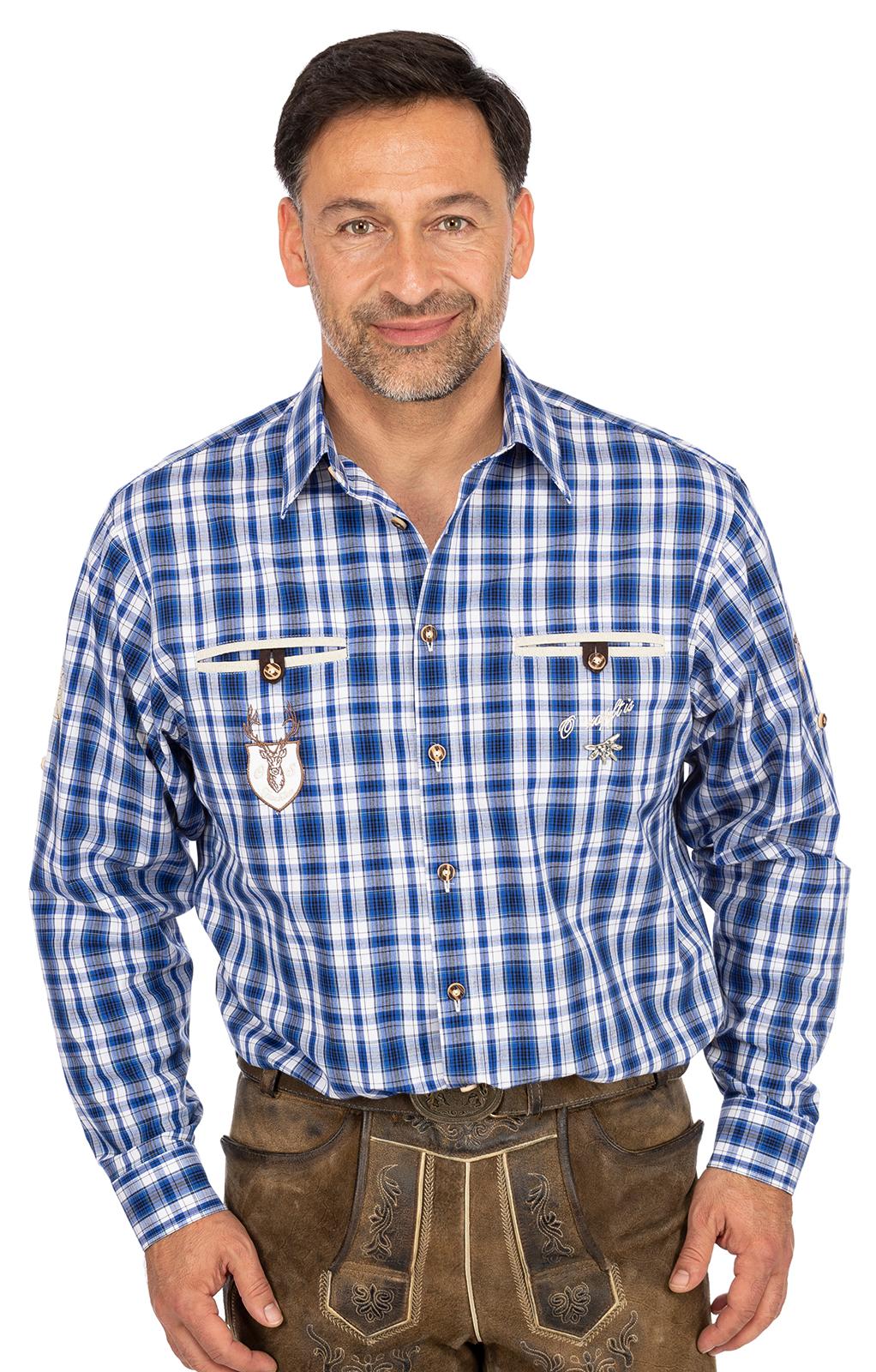 Karo Langarmhemd ÜBERSEE blau von OS-Trachten