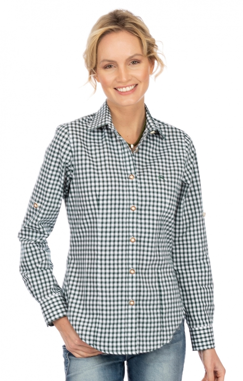 Bluse Langarm CHECKERED tanne