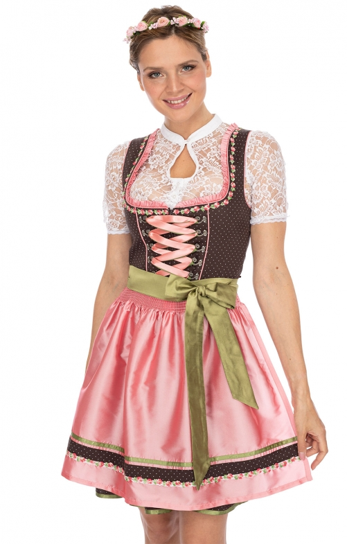 Mini Dirndl 2tlg. 50 cm PATTY braun rose