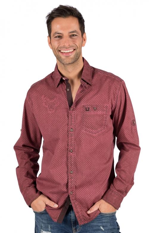 German traditional shirt long sleeve KONSTANTIN red