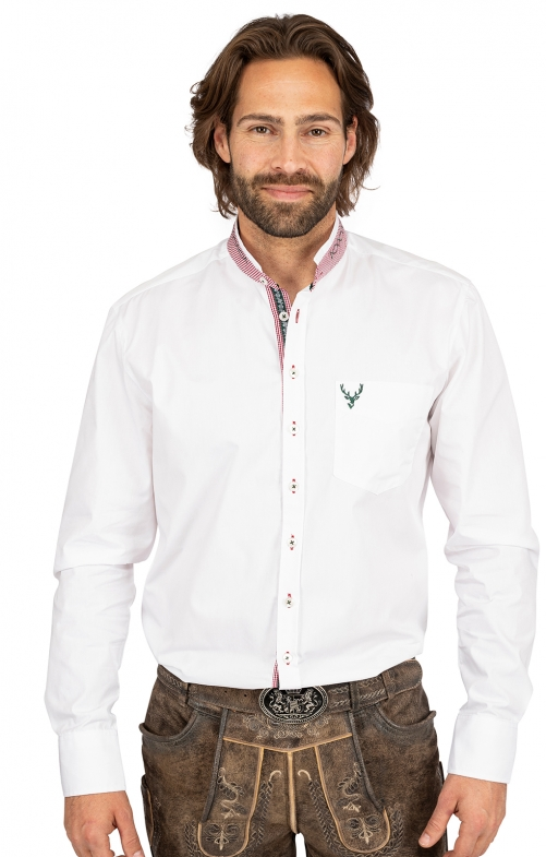 Stehkragenhemd BASTI weiß rot