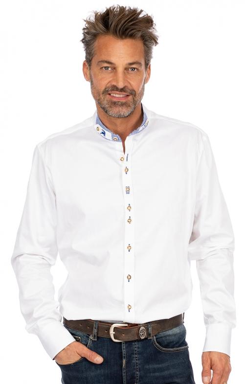 Stehkragenhemd ALEXIS weiß blau