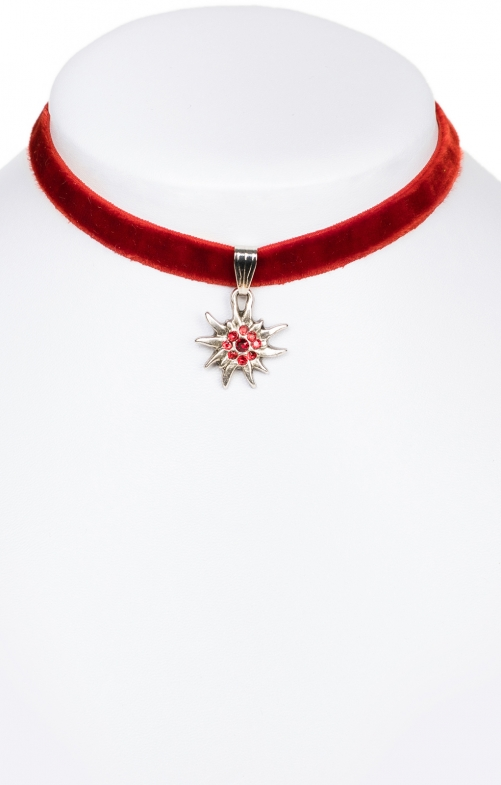 Traditional necklace Edelweiss 9197-SB red