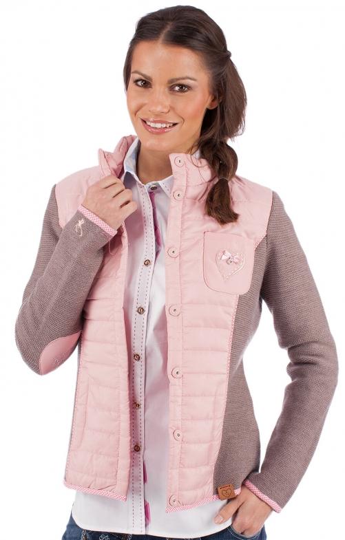 Trachten Steppjacke Edelweiss rosa taupe