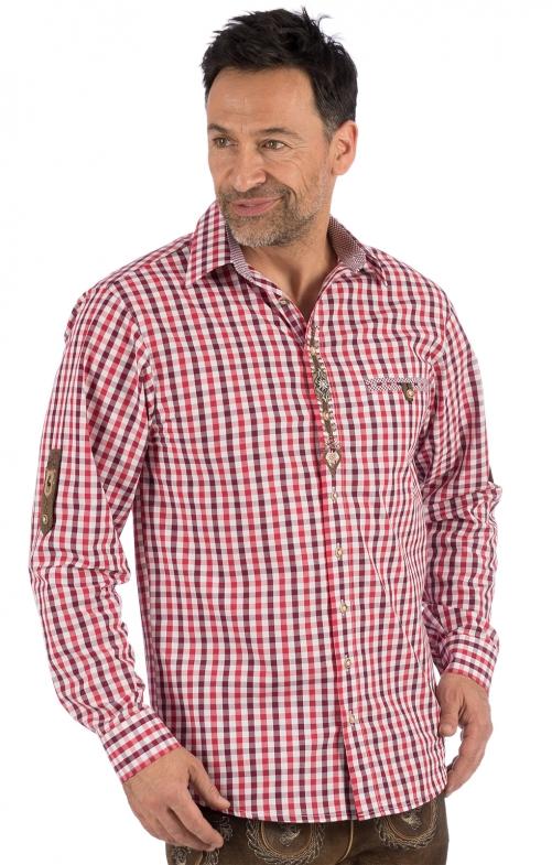 Trachtenhemd karo BERNI rot