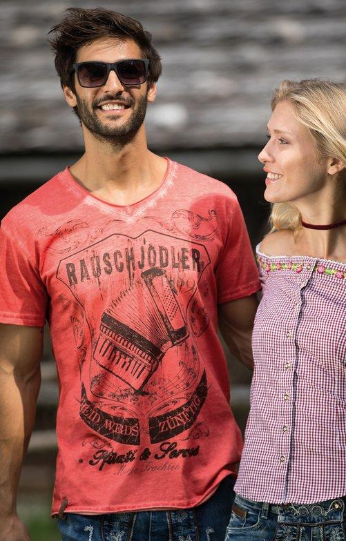 Trachten T-Shirt E25 - RAUSCHJODLER rot