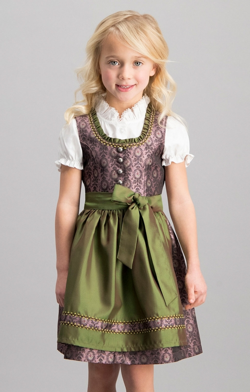 Traditional Children dirndl 3 pcs. ROSKA aubergine green