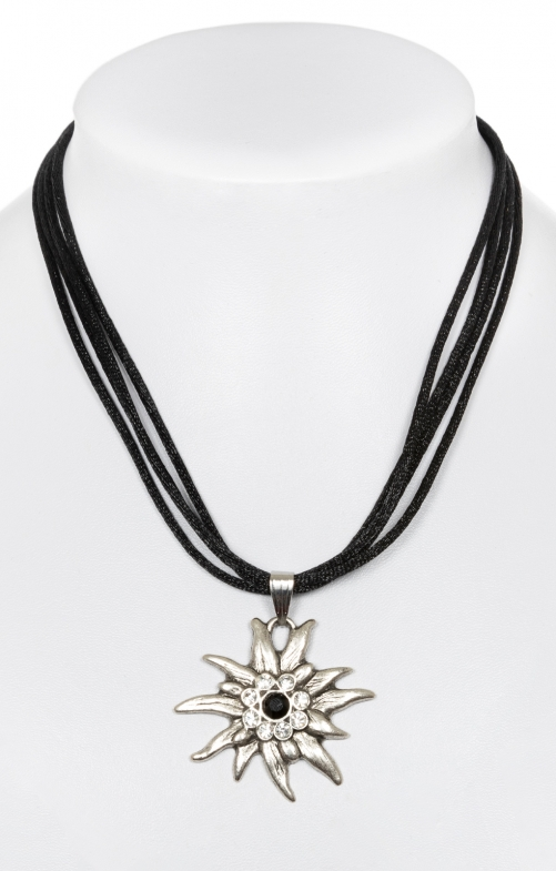 Trachten necklace with Edelweiss 9196-4 black