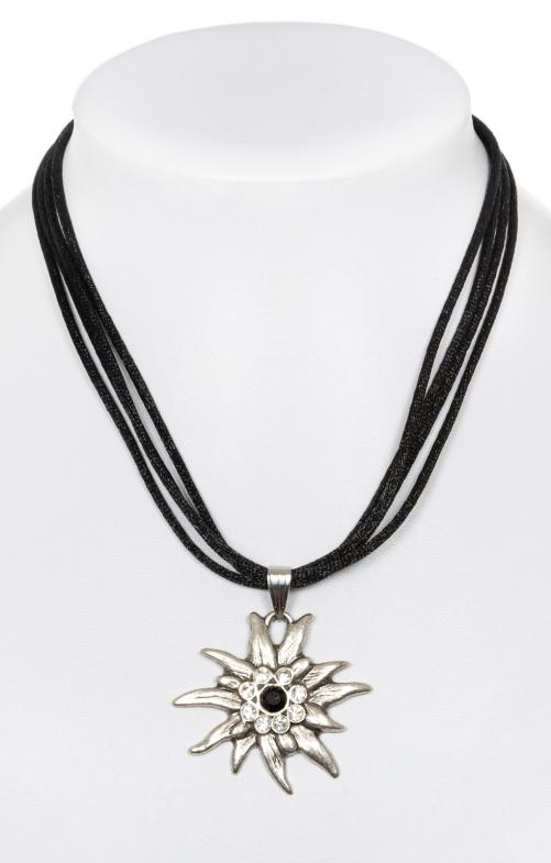 Halskette mit Edelweiss 9196-4 schwarz