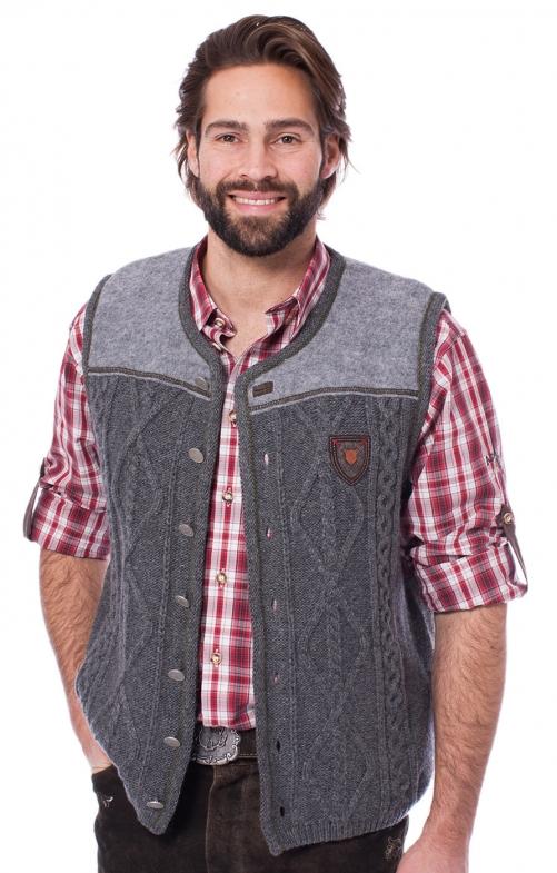 German knitted waistcoat DURBAN medium gray
