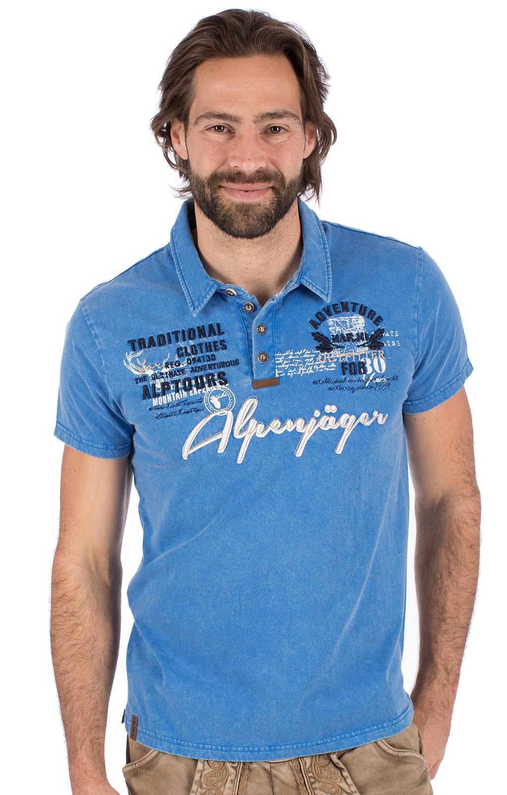 Trachten T-Shirt E09 - ALPENJAEGER blau von Marjo