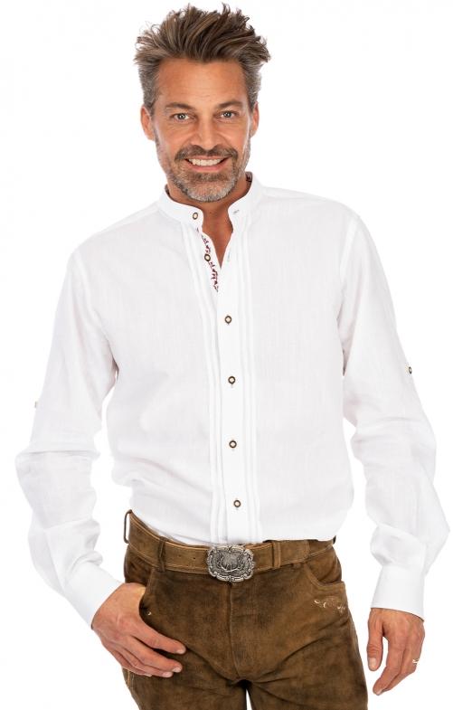 Stehkragenhemd JONAS weiß bordeaux