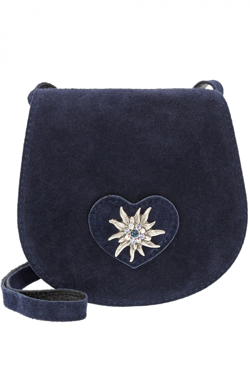 Traditional leather bag with heart natur TA30340-9196 marine