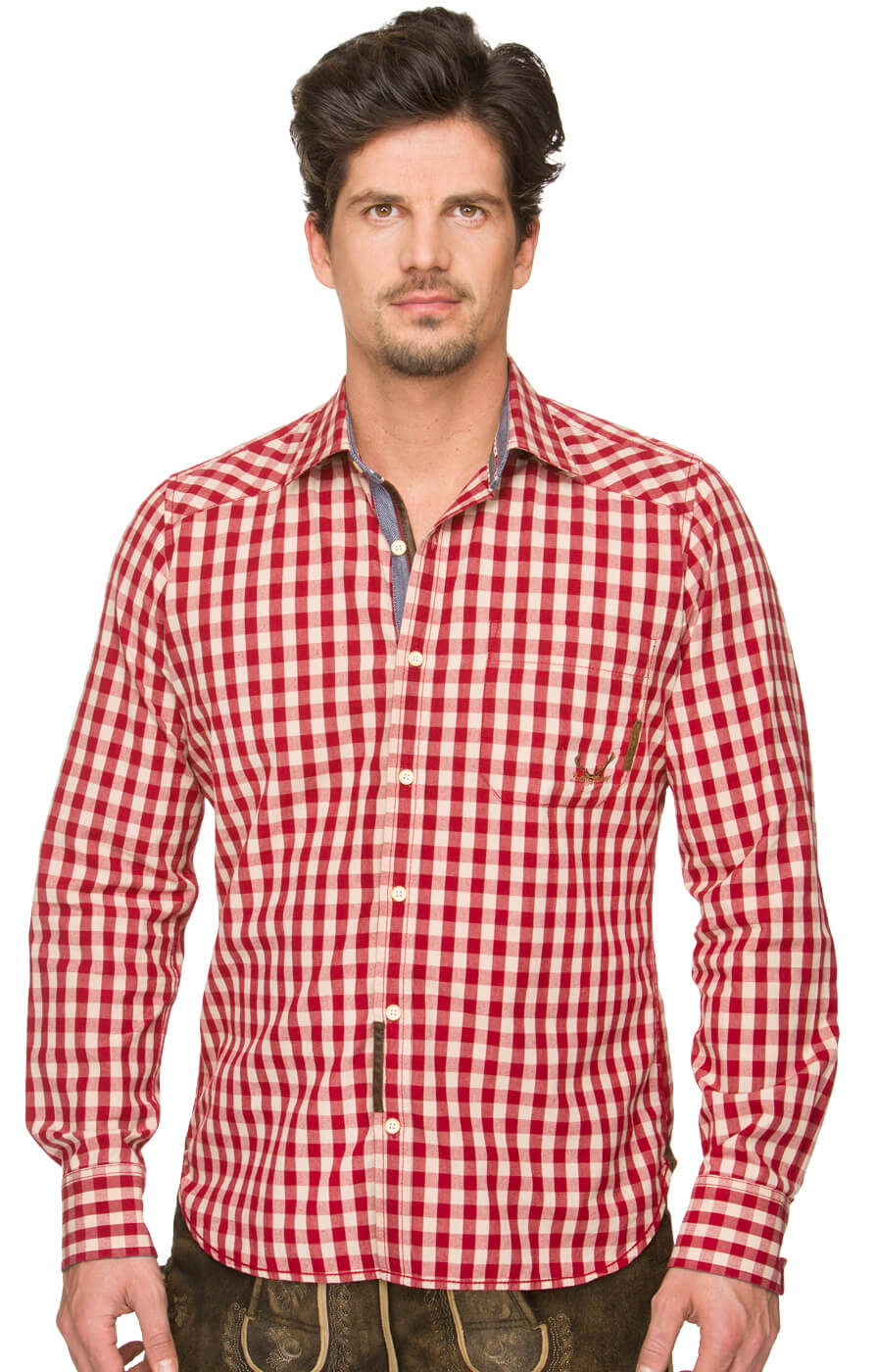 German traditional shirt Tom darkred von Stockerpoint