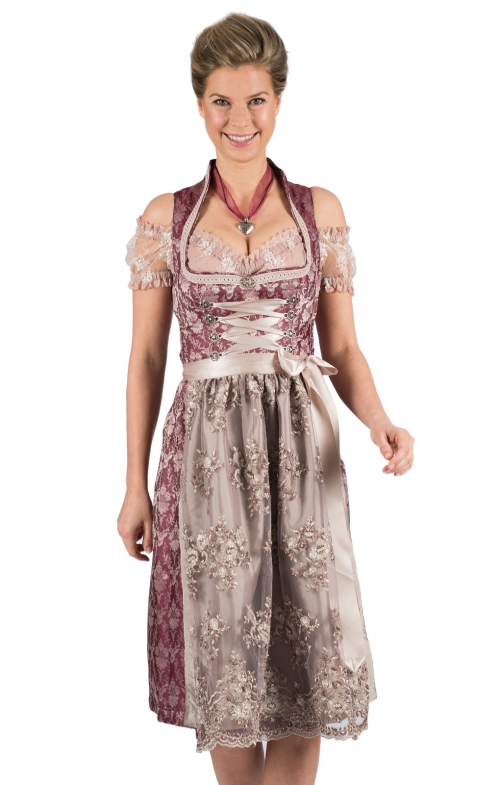 Mididirndl 2pcs. 65 cm GERTA bordeaux cream