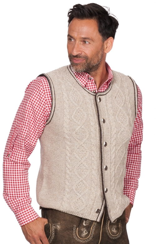 German knitted waistcoat ERMELO nature