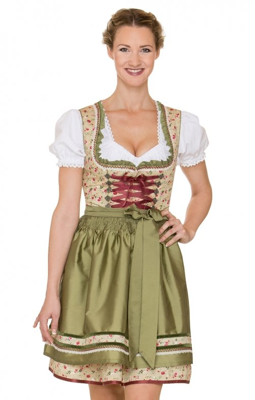 German Mini dirndl 2pcs. Yuna green 50 cm