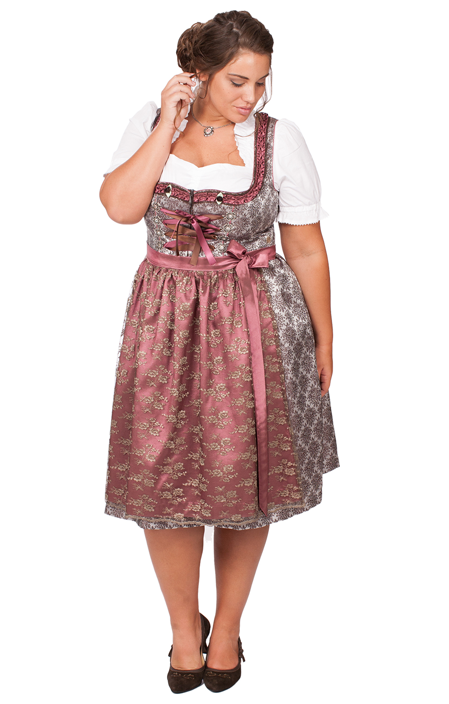 Mididirndl Ravina 2tlg. 65cm PLUS SIZE braun rosenholz von Marjo