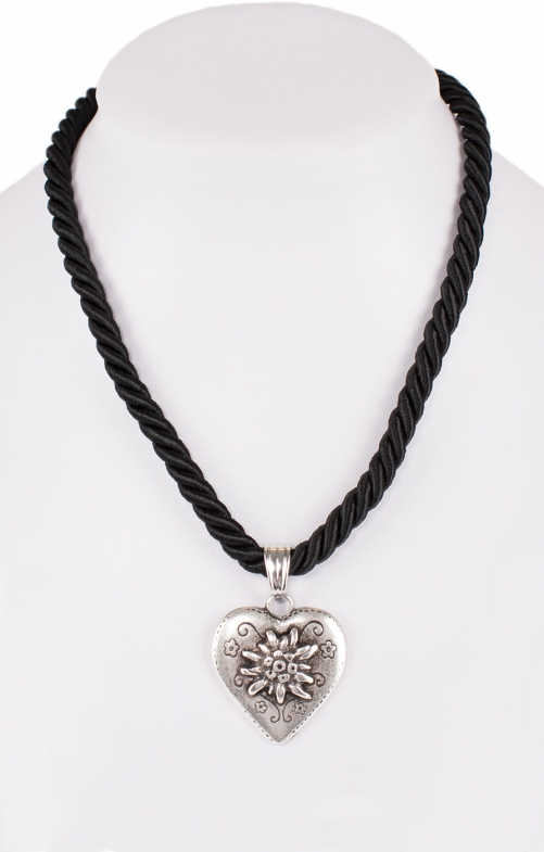 Traditional necklace cord heart K100-8144 black