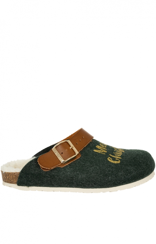 Traditional SlipperG101388 SHETLAND Xmas green