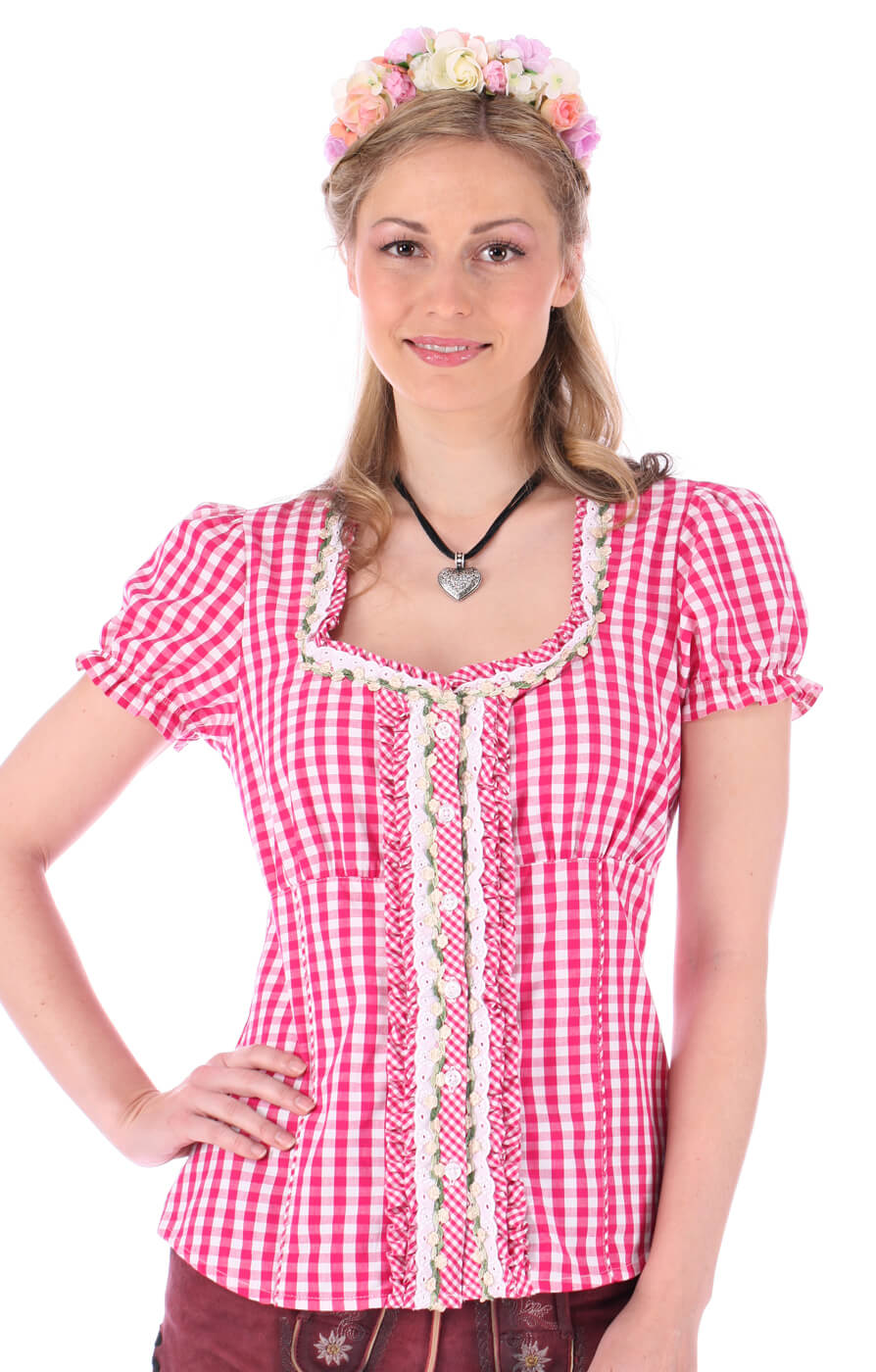Trachtenbluse Ally Rüschenborte karo pink von Krüger Dirndl