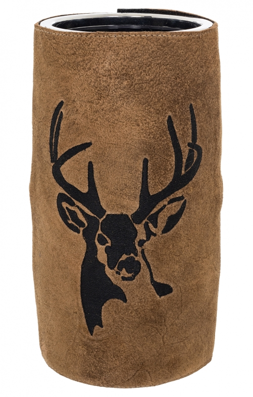 Wine cooler with leather HIRSCH brown