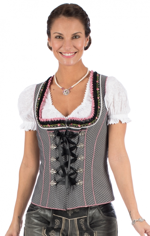 Traditional dirndl corsage JASMIN gray