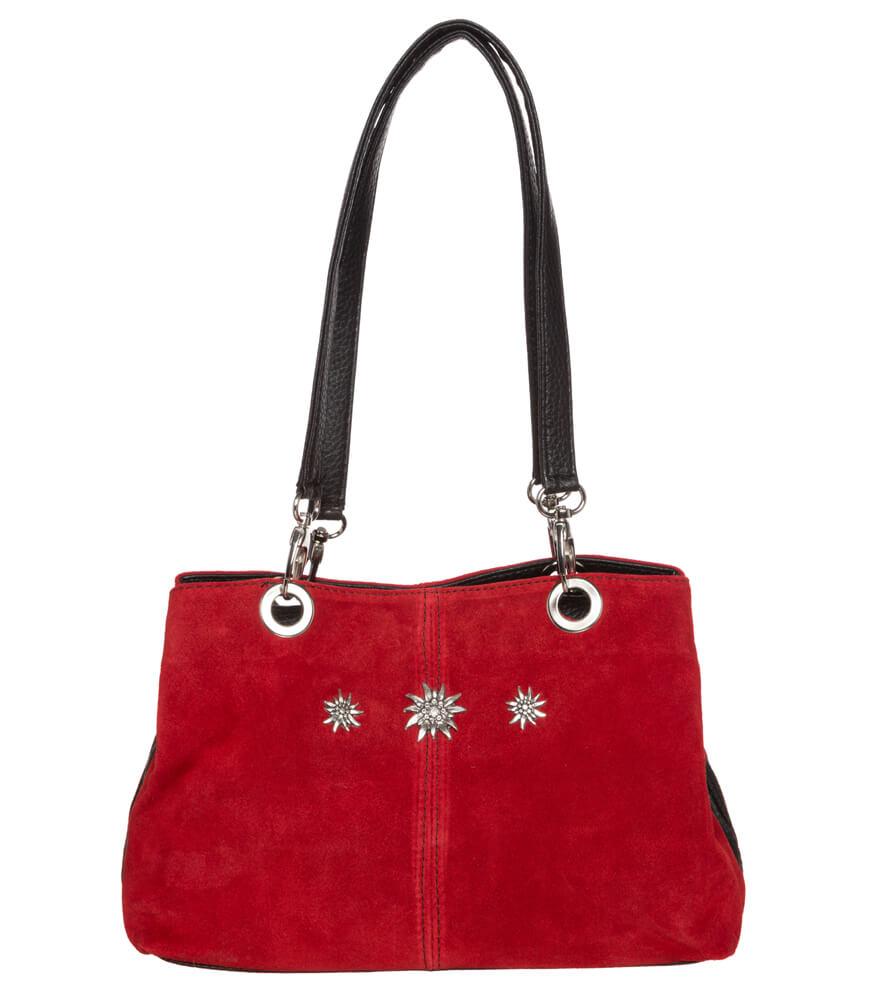 Trachtentasche TA30200 Leder mit Edelweiss, rot von Schuhmacher