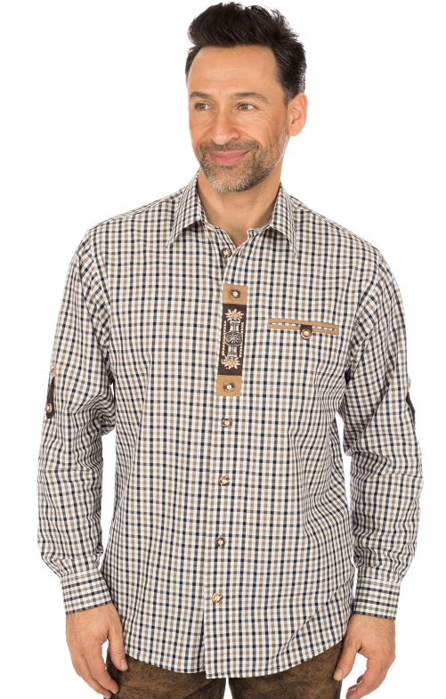 German traditional shirt short arms brown black
