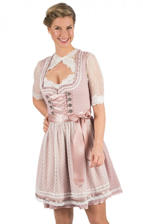 Mini Dirndl 2pz. 50 cm JULIANA rosa