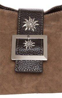 verspielte Trachtentasche Leder, graubraun