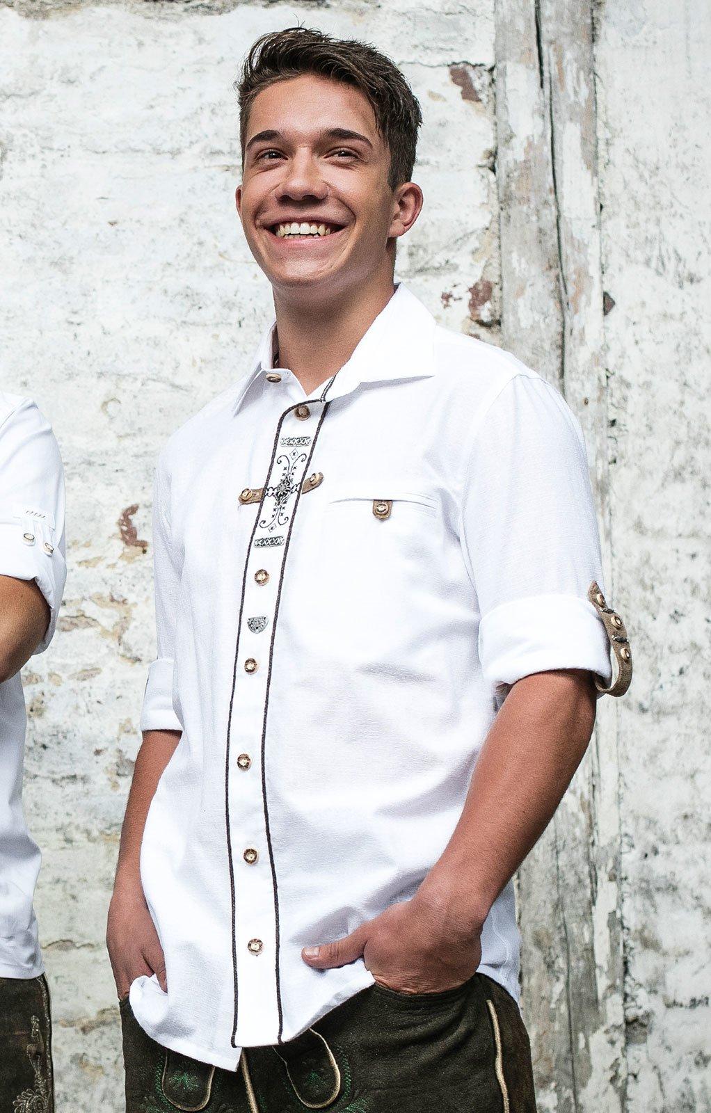 OS Trachten Trachtenhemd Stehkragen Florian wei/ß gr/ün